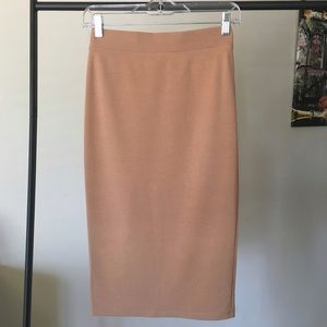 Forever 21 Tan Midi Pencil Skirt